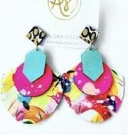 Renee Earring- Yellow Pink Abstract