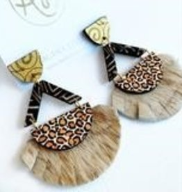 Black & Leopard Violet earrings