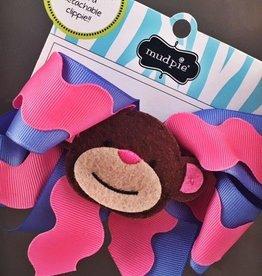 Monkey Bow Pink Blue