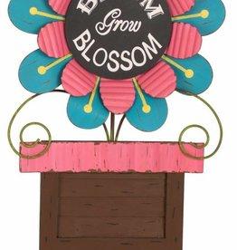 Iron/Wooden Chalkboard Flower Yard Stake -