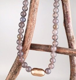 Gray & Gold Beaded Necklace