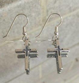 Anita Goudeau AG1134er Two Sided Cross Small Dangle Earrings SS