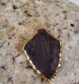 ARTESSORY HANDCRAFTED JEWELRY AHJ22 Fancy Jasper Gold, Dark Agate Pendant