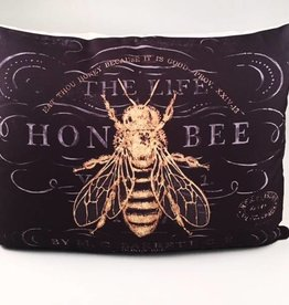 Vintage Bees On Black Pillow 19x24
