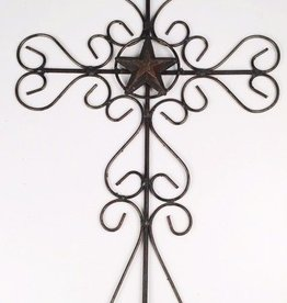 Large Swirly Metal Cross w/ Star in the Center