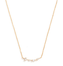 Splendid Iris Curved Pave Necklace-
