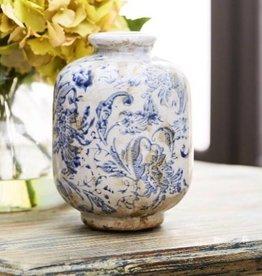 Blue and White Terra Cotta Vase