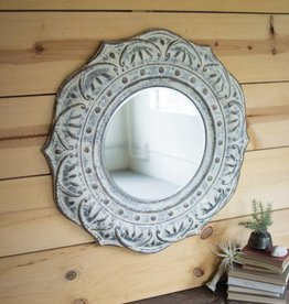 Pressed Metal Flower Wall Mirror