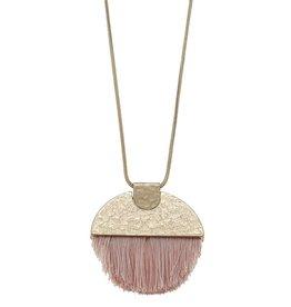 Canvas Jewelry Semi Circle Tassel Necklace-