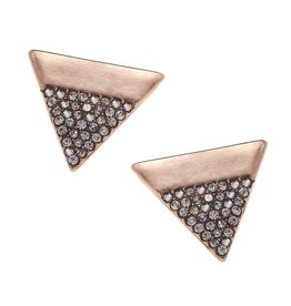 Rose Gold & Rhinestone Triangle Stud Earrings