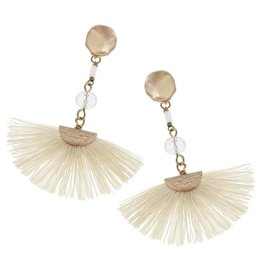 Ivory Fan Tassel Earrings