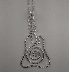 Swirly Guitar Silver Plated Necklace With Long Chain