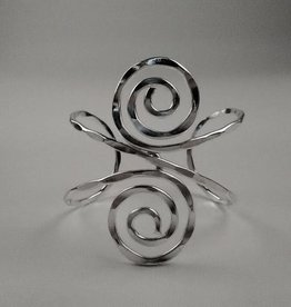 Fancy Swirl Silver Plated Cuff Bracelet