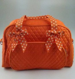 Orange and White Quilted Solid Overnight Duffle Bag