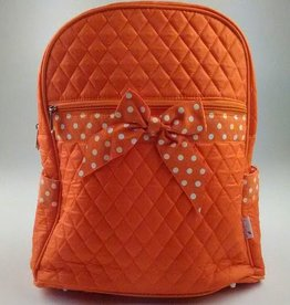 Orange and White Quilted Solid Large Zippered Backpack