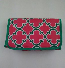 Pink and Green Quatrefoil Print Roll Up Cosmetic Bag