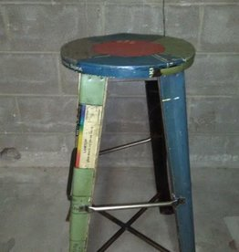 Recycled Iron Bar Stool with Round Seat- Assorted Colored Seats