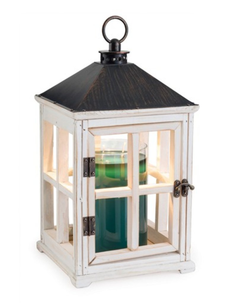 Wooden Candle Warmer Lantern- Weathered White