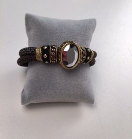Brown Faux Leather Bracelet With Metallic Grey Stone