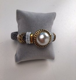 Metallic Pearl Stone Bracelet With Black and White Strap
