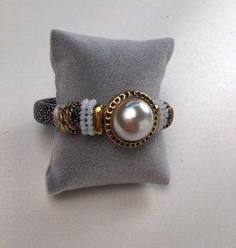 Metallic Pearl Stone Bracelet With Black and White Strap