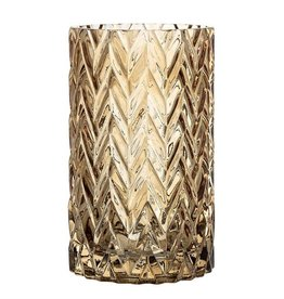 BLOOMINGVILLE Etched Glass Vase (brown)