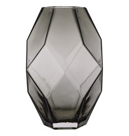 BLOOMINGVILLE Grey Geo Glass Vase