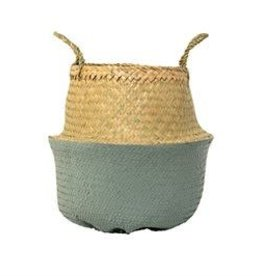 BLOOMINGVILLE Seagrass Basket w. Handles (natural & seafoam)
