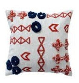 BLOOMINGVILLE Orange & Navy Textured Cotton Pillow