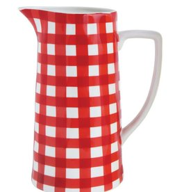 Creative Co-Op Red & White Gingham Pitcher