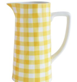 Creative Co-Op Yellow & White Gingham Pitcher