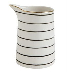 Creative Co-Op Black & White Stripe Stoneware Pitcher (mini)