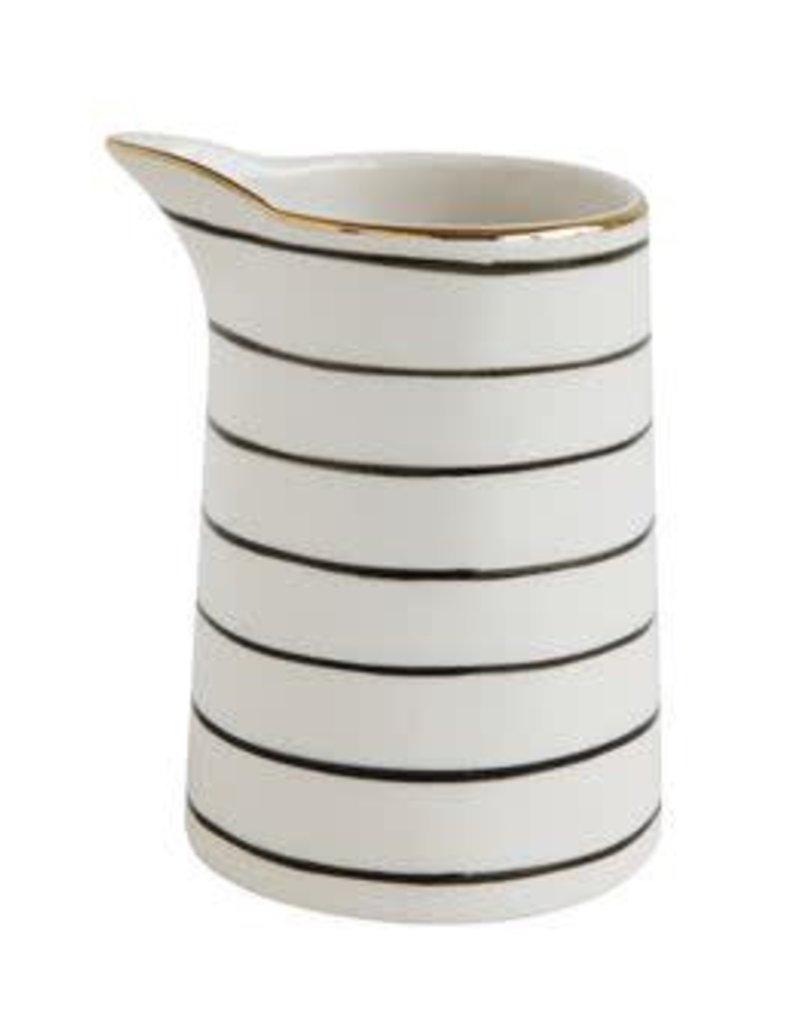 Creative Co-Op Black & White Stripe Stoneware Pitcher (mini)