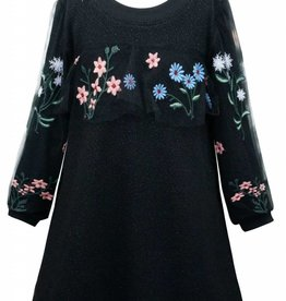 Hannah Banana/Baby Sara LS Knit Dress w/ Embroidered Mesh Detail Black