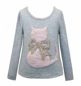 Hannah Banana/Baby Sara LS T-Shirt w/ Faux Fur Cat & Bow Patch