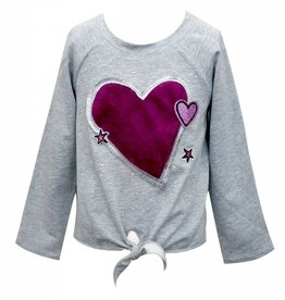 Hannah Banana/Baby Sara LS Raglan Tie Front Top w/ Faux Fur Heart & Patch