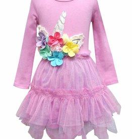 Hannah Banana/Baby Sara LS Dress w/ Hanky Hem Tutu & Floral Unicorn