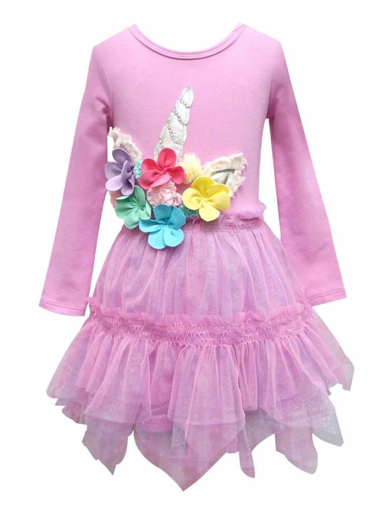 318f55a3f LS Dress w  Hanky Hem Tutu   Floral Unicorn - little orange fish