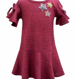 Hannah Banana/Baby Sara Drop Waist Skater Dress w/ Ruffle Sleeve Red