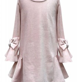 Hannah Banana/Baby Sara Velour LS Dress w/ Bow Pink