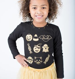 Haven Girl Fab Boo Lous LS Emoji Tee Black