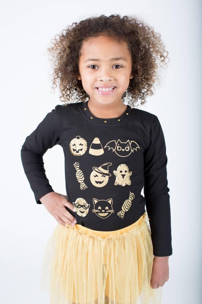Haven Girl Fab Boo Lous LS Emoji Tee Black