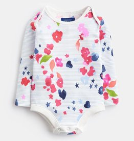 Joules Snazzy Printed Bodysuit Inky Floral Stripe