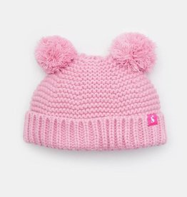 Joules Knitted Double Pom Pom Hat Dusk Pink