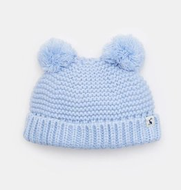 Joules Knitted Double Pom Pom Hat Sky Blue