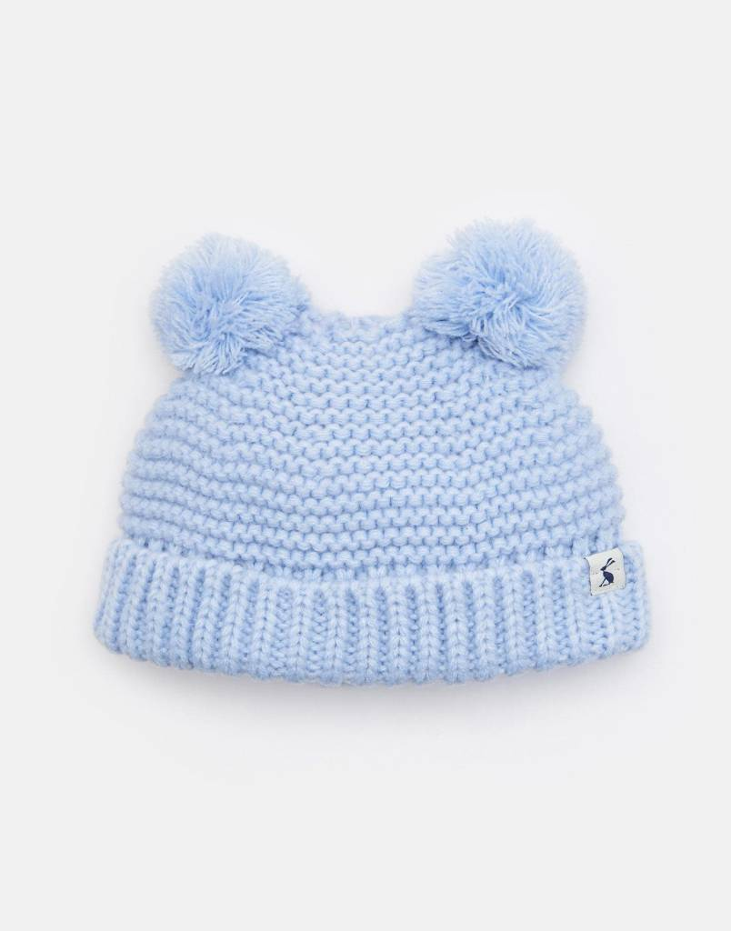 3ec57164a Knitted Double Pom Pom Hat Sky Blue
