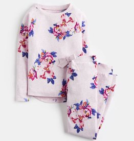 Joules Sleepwell LS Top & Pants Set Pink Marl Granny Floral