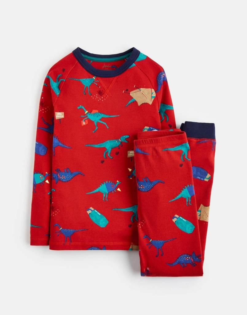 Joules Kipwell Jersey PJ Set Red Dino