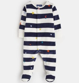 Joules Cosmo Velour Footie Navy Star Stripe