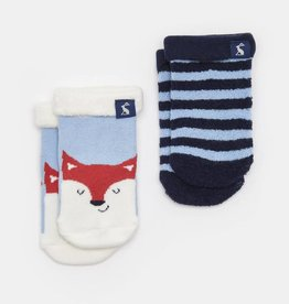 Joules Terry 2pk Soft Socks Sky Blue Fox